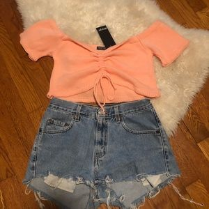 Nasty Gal Ruched Front Sweater Crop Top
